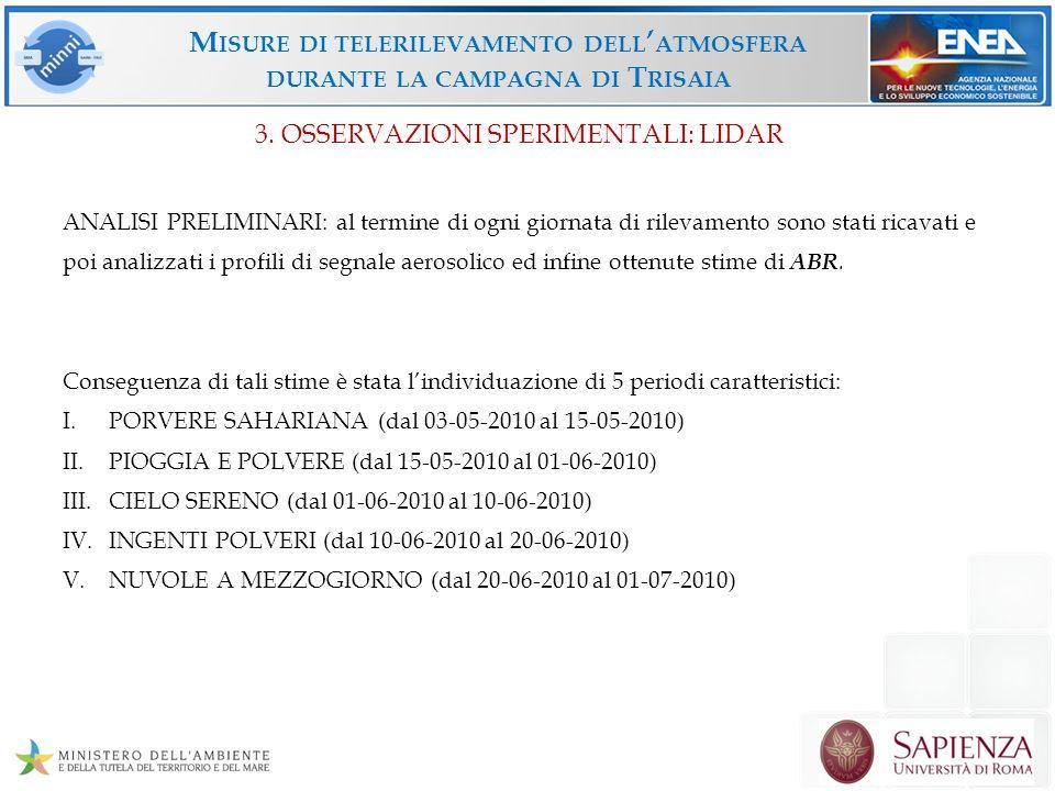 M ISURE DI TELERILEVAMENTO DELL ATMOSFERA DURANTE LA CAMPAGNA DI T RISAIA PORVERE SAHARIANA (dal 03-05-2010 al 15-05-2010) 3.