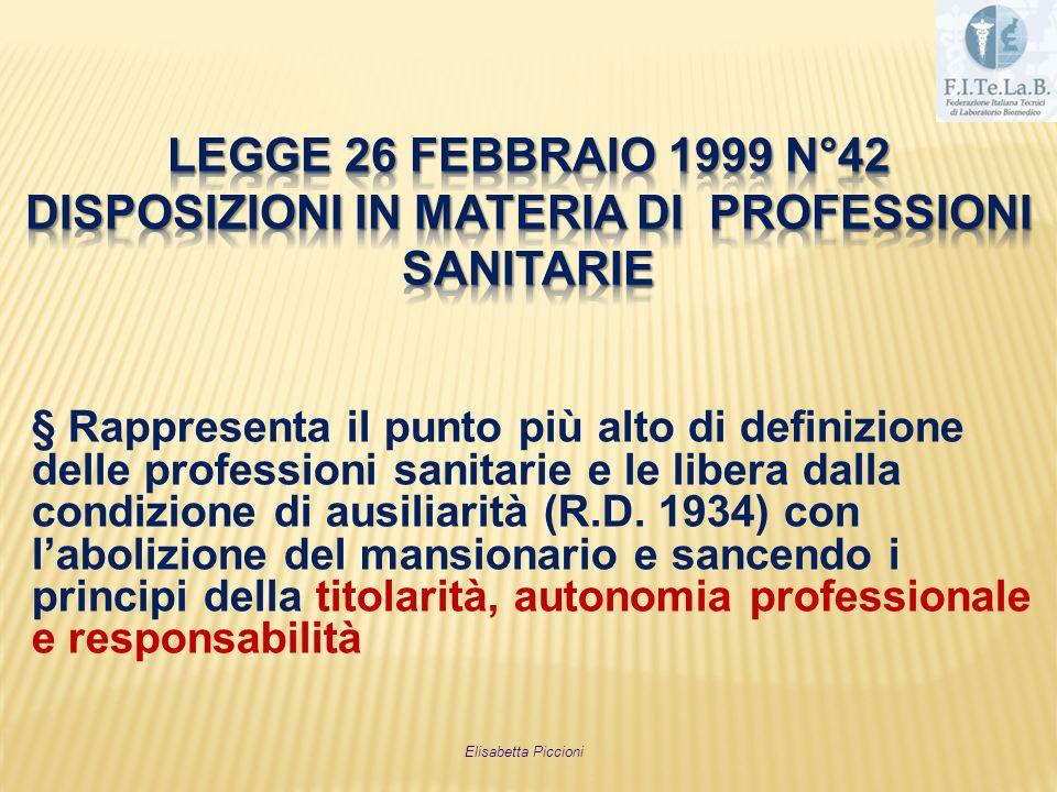 § Rappresenta il punto più alto di definizione delle professioni sanitarie e le libera dalla condizione di ausiliarità (R.D. 1934) con labolizione del