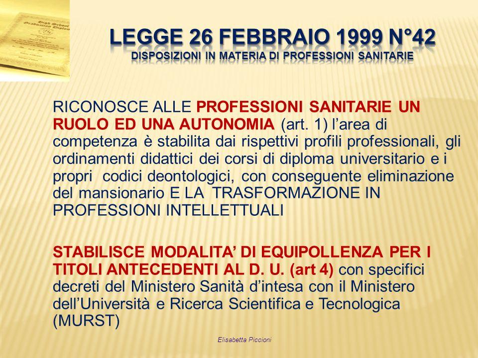 RICONOSCE ALLE PROFESSIONI SANITARIE UN RUOLO ED UNA AUTONOMIA (art. 1) larea di competenza è stabilita dai rispettivi profili professionali, gli ordi