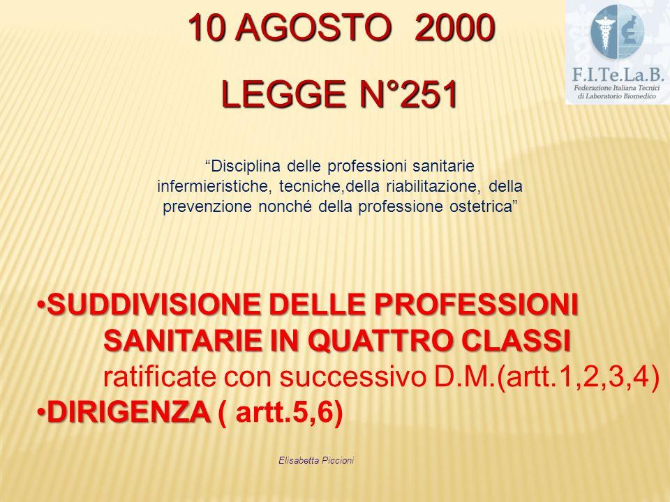 10 AGOSTO 2000 LEGGE N°251 Disciplina delle professioni sanitarie infermieristiche, tecniche,della riabilitazione, della prevenzione nonché della prof
