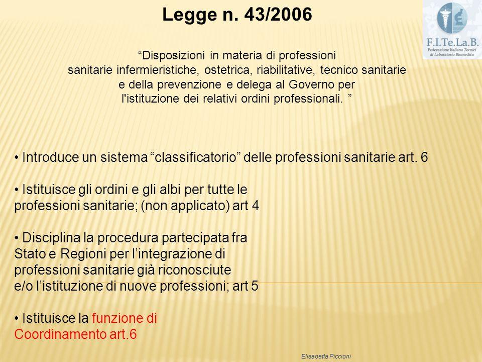 Legge n. 43/2006 Disposizioni in materia di professioni sanitarie infermieristiche, ostetrica, riabilitative, tecnico sanitarie e della prevenzione e