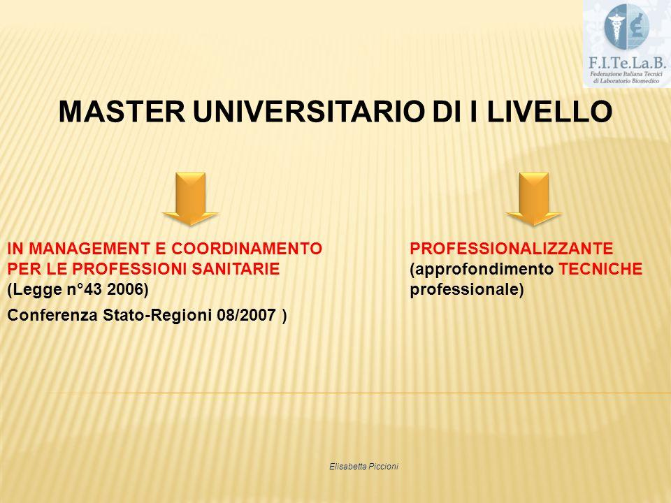 MASTER UNIVERSITARIO DI I LIVELLO IN MANAGEMENT E COORDINAMENTOPROFESSIONALIZZANTE PER LE PROFESSIONI SANITARIE(approfondimento TECNICHE (Legge n°43 2