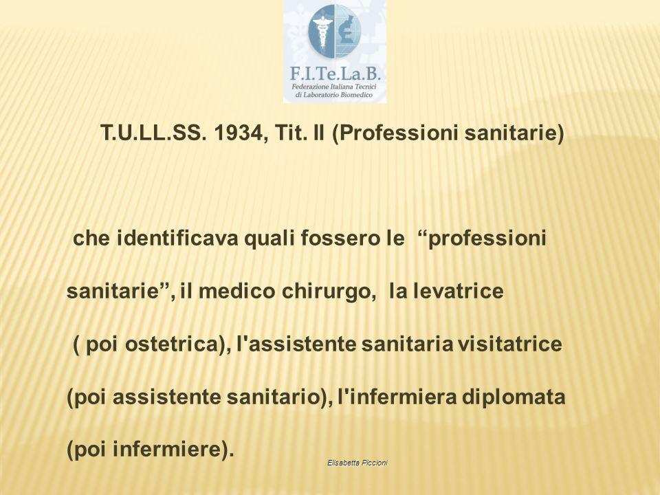 T.U.LL.SS. 1934, Tit. II (Professioni sanitarie) che identificava quali fossero le professioni sanitarie, il medico chirurgo, la levatrice ( poi ostet