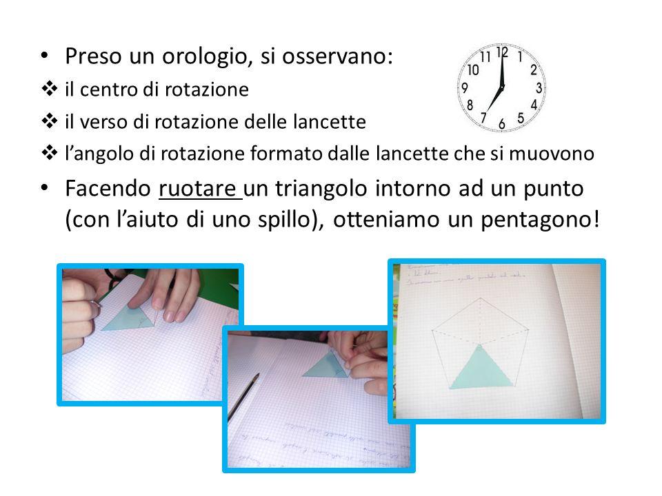 Preso un orologio, si osservano: il centro di rotazione il verso di rotazione delle lancette langolo di rotazione formato dalle lancette che si muovon
