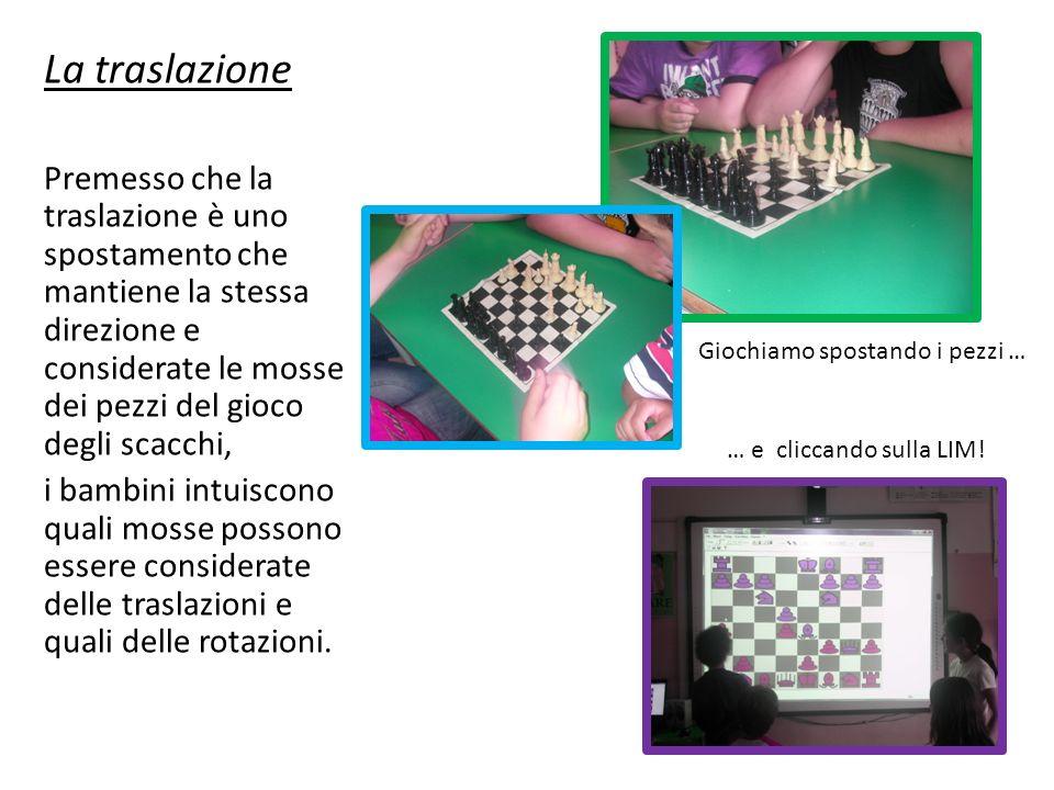 La traslazione Premesso che la traslazione è uno spostamento che mantiene la stessa direzione e considerate le mosse dei pezzi del gioco degli scacchi