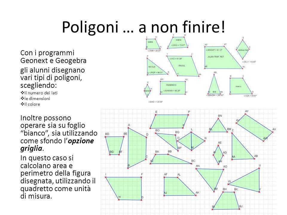 Poligoni … a non finire! Con i programmi Geonext e Geogebra gli alunni disegnano vari tipi di poligoni, scegliendo: il numero dei lati le dimensioni i