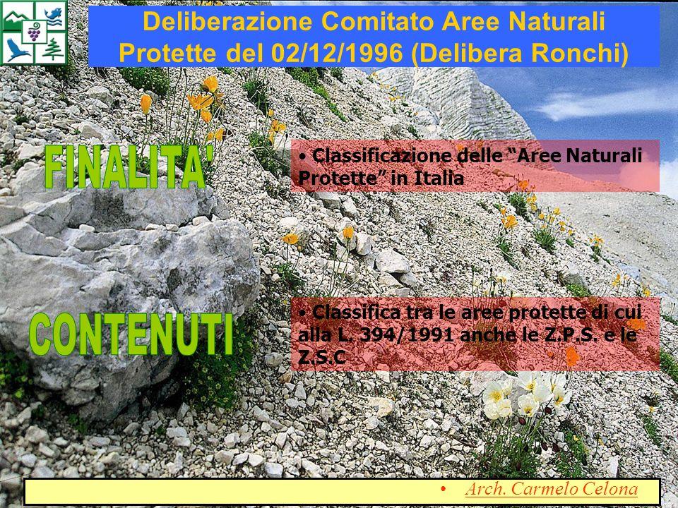 Classificazione delle Aree Naturali Protette in Italia Classifica tra le aree protette di cui alla L. 394/1991 anche le Z.P.S. e le Z.S.C Deliberazion