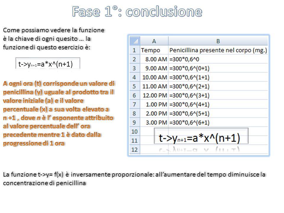 Come possiamo vedere la funzione è la chiave di ogni quesito … la funzione di questo esercizio è: La funzione t->y= f(x) è inversamente proporzionale: allaumentare del tempo diminuisce la concentrazione di penicillina