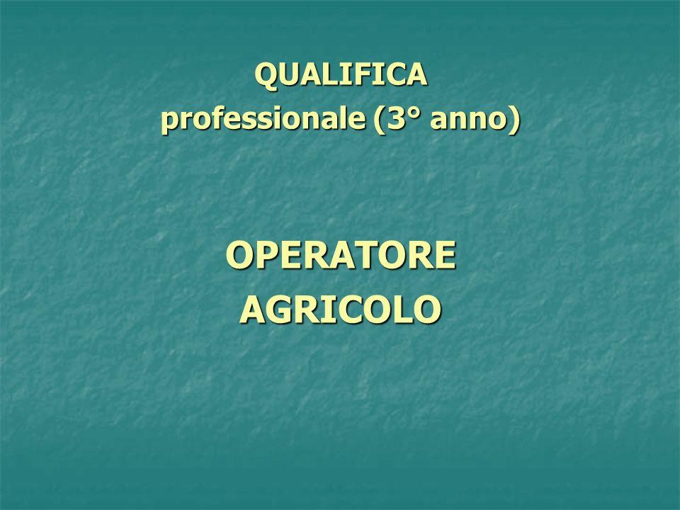 QUALIFICA professionale (3° anno) OPERATOREAGRICOLO