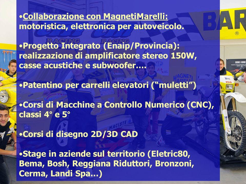 Collaborazione con MagnetiMarelli: motoristica, elettronica per autoveicolo.