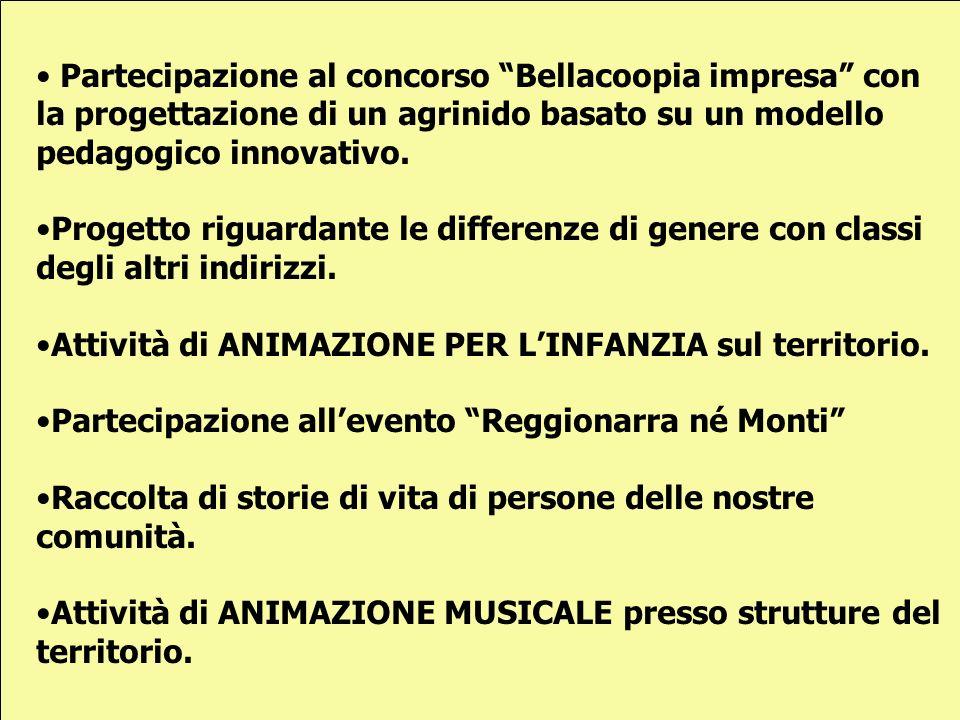 Partecipazione al concorso Bellacoopia impresa con la progettazione di un agrinido basato su un modello pedagogico innovativo.