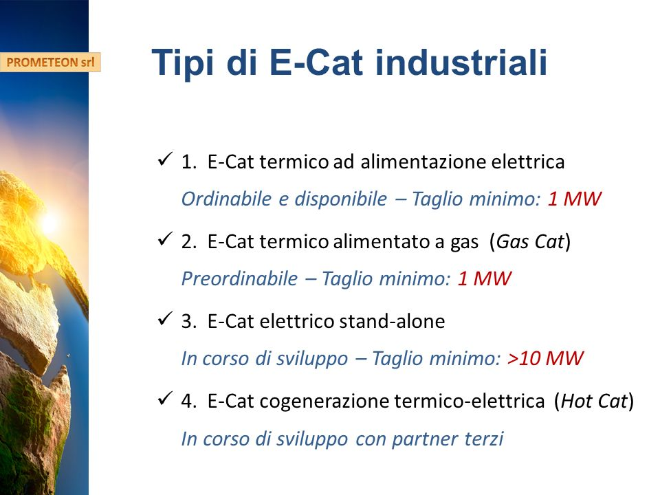 Hydro Fusion Confidential Information Tipi di E-Cat industriali 1.