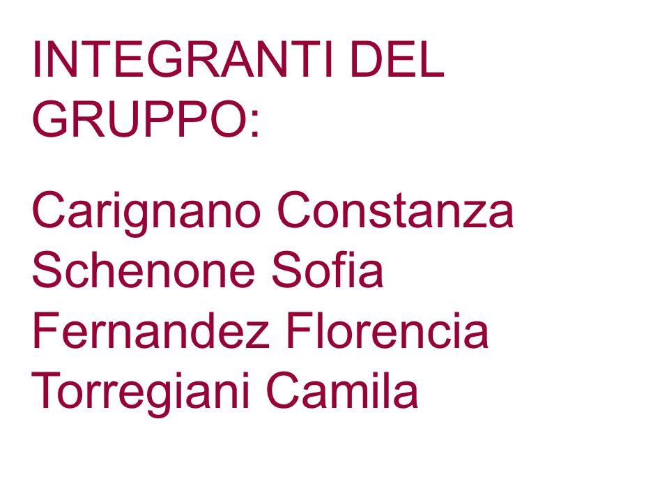 INTEGRANTI DEL GRUPPO: Carignano Constanza Schenone Sofia Fernandez Florencia Torregiani Camila