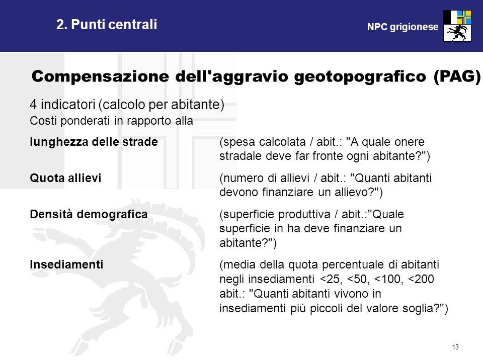 NPC grigionese 13 Compensazione dell'aggravio geotopografico (PAG) 4 indicatori (calcolo per abitante) Costi ponderati in rapporto alla lunghezza dell