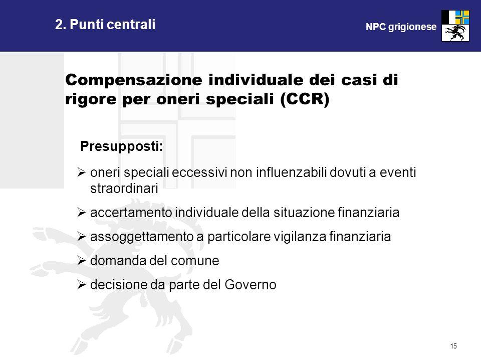 NPC grigionese 15 2. Punti centrali Presupposti: Compensazione individuale dei casi di rigore per oneri speciali (CCR) oneri speciali eccessivi non in