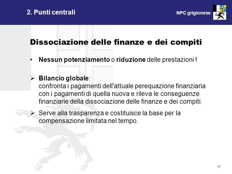 NPC grigionese 17 Dissociazione delle finanze e dei compiti Nessun potenziamento o riduzione delle prestazioni ! Bilancio globale: confronta i pagamen