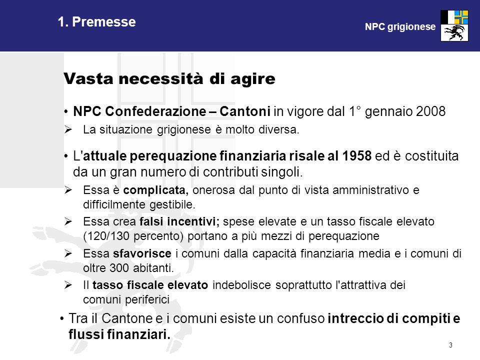 NPC grigionese 3 1. Premesse NPC Confederazione – Cantoni in vigore dal 1° gennaio 2008 La situazione grigionese è molto diversa. L'attuale perequazio