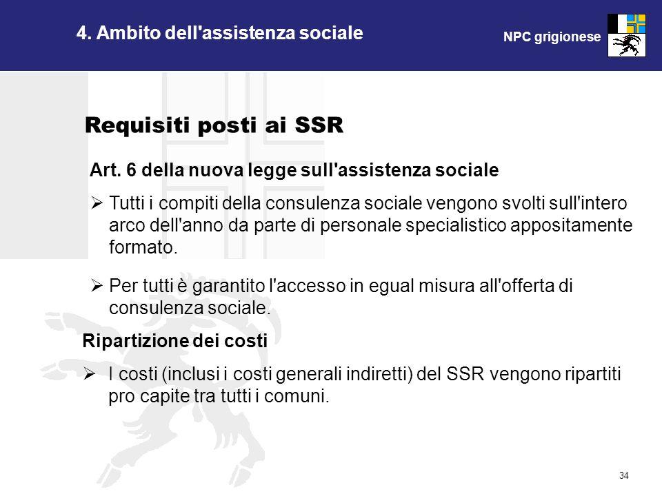 NPC grigionese 34 4. Ambito dell'assistenza sociale Art. 6 della nuova legge sull'assistenza sociale Tutti i compiti della consulenza sociale vengono