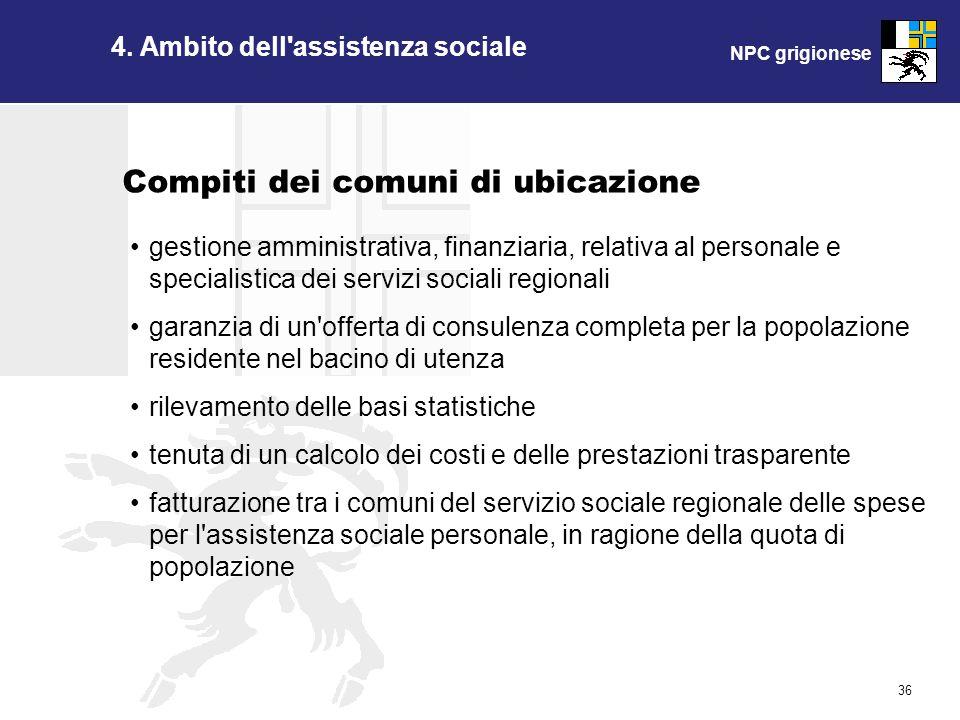 NPC grigionese 36 4. Ambito dell'assistenza sociale gestione amministrativa, finanziaria, relativa al personale e specialistica dei servizi sociali re