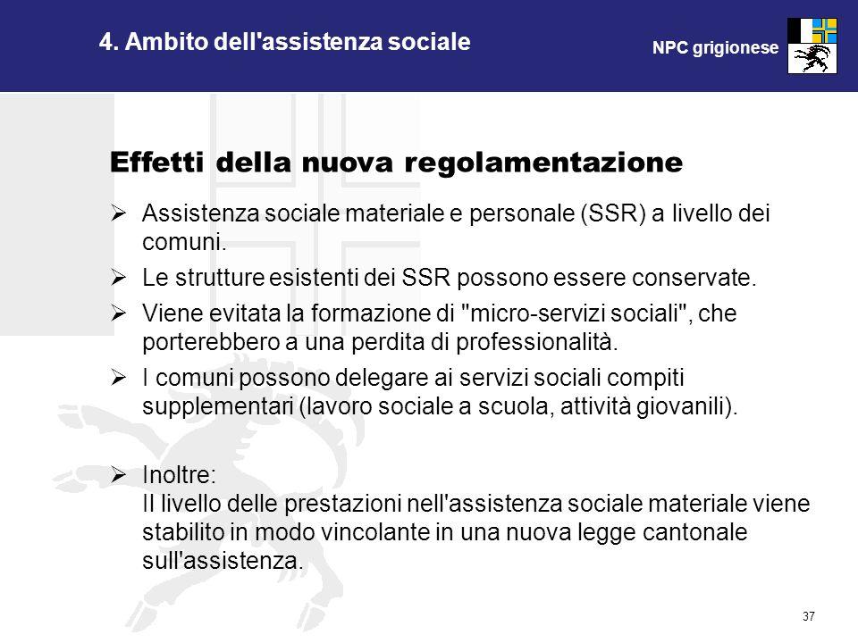 NPC grigionese 37 4. Ambito dell'assistenza sociale Assistenza sociale materiale e personale (SSR) a livello dei comuni. Le strutture esistenti dei SS