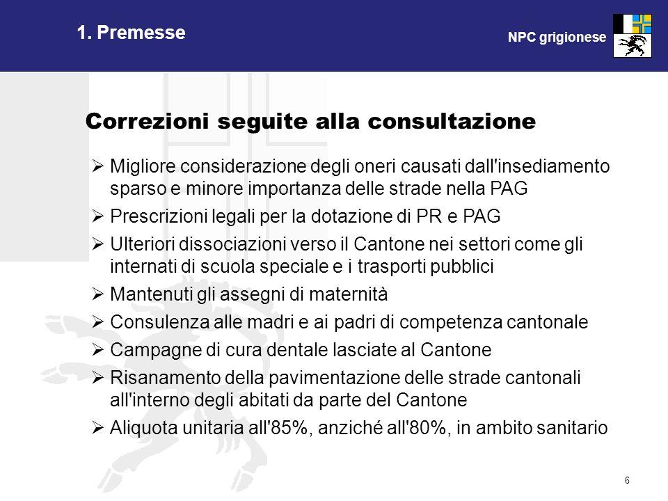 NPC grigionese 6 1. Premesse Correzioni seguite alla consultazione Migliore considerazione degli oneri causati dall'insediamento sparso e minore impor
