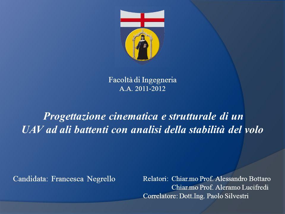 Candidata: Francesca Negrello Relatori: Chiar.mo Prof. Alessandro Bottaro Chiar.mo Prof. Aleramo Lucifredi Correlatore: Dott.Ing. Paolo Silvestri Faco