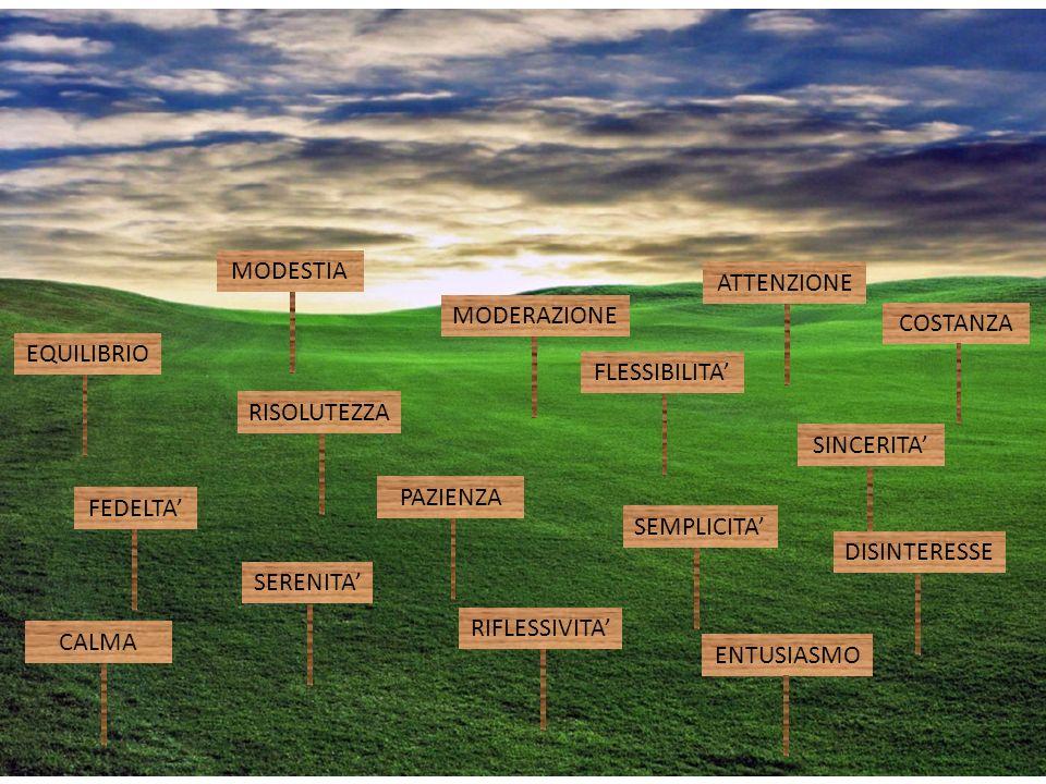 EQUILIBRIO FEDELTA SERENITA RIFLESSIVITA RISOLUTEZZA SINCERITA FLESSIBILITA MODERAZIONE ENTUSIASMO ATTENZIONE CALMA MODESTIA PAZIENZA COSTANZA SEMPLICITA DISINTERESSE