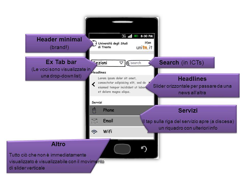 Header minimal (brand!) Ex Tab bar (Le voci sono visualizzate in una drop-down list) Search (in ICTs) Headlines Slider orizzontale per passare da una