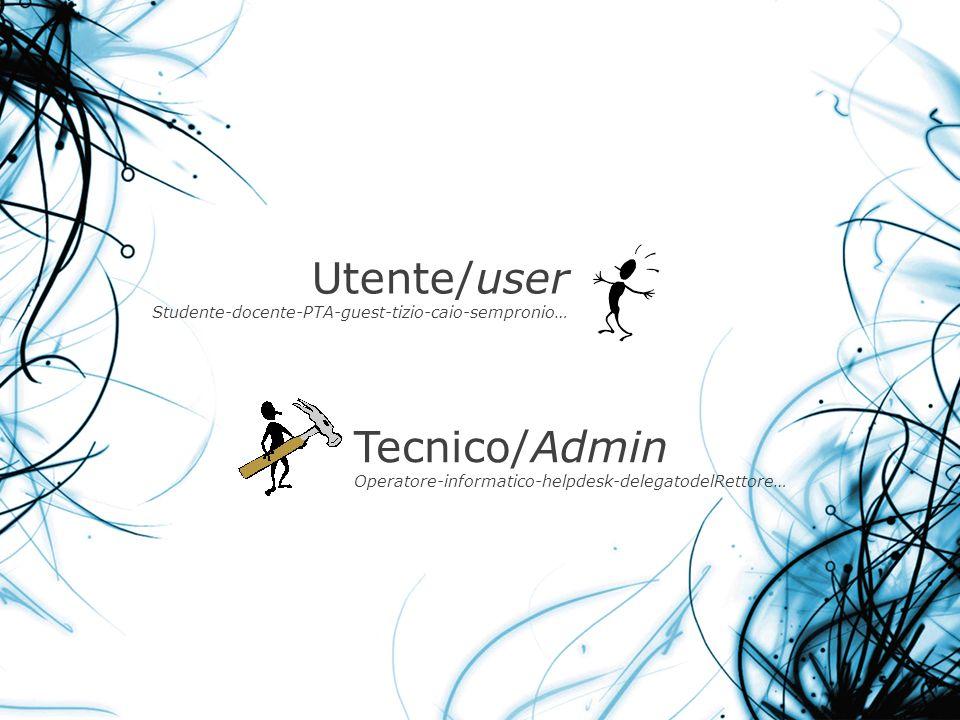 Utente/user Studente-docente-PTA-guest-tizio-caio-sempronio… Tecnico/Admin Operatore-informatico-helpdesk-delegatodelRettore…