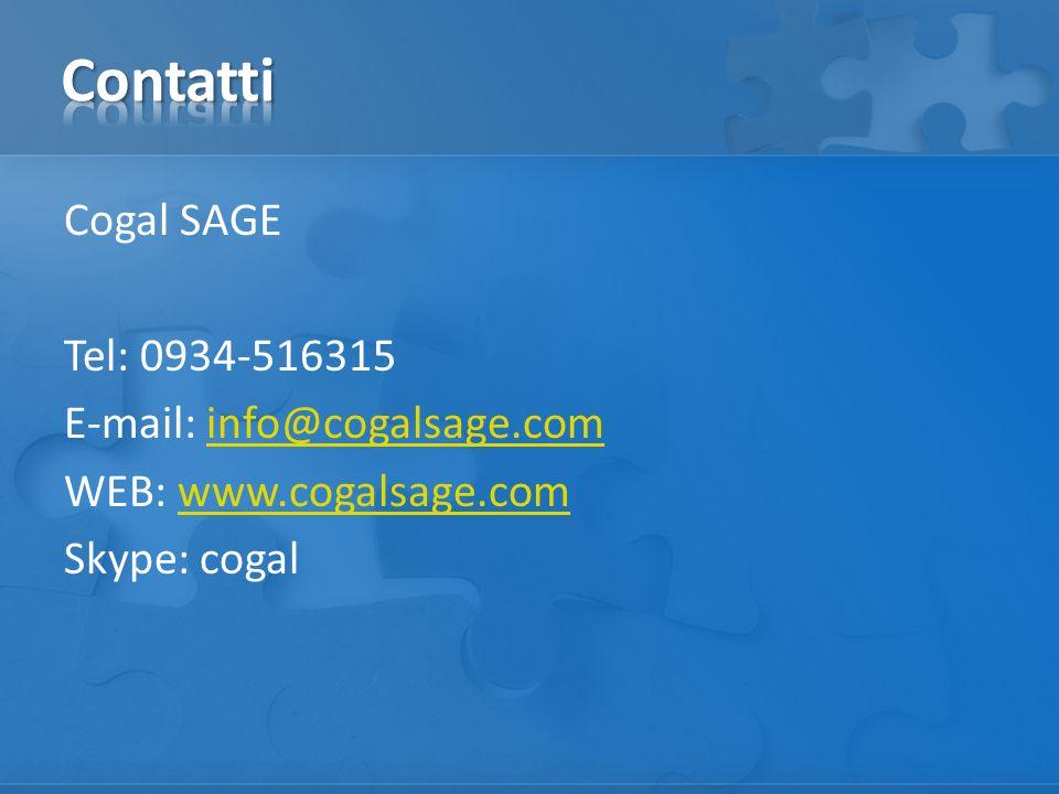 Cogal SAGE Tel: 0934-516315 E-mail: info@cogalsage.cominfo@cogalsage.com WEB: www.cogalsage.comwww.cogalsage.com Skype: cogal