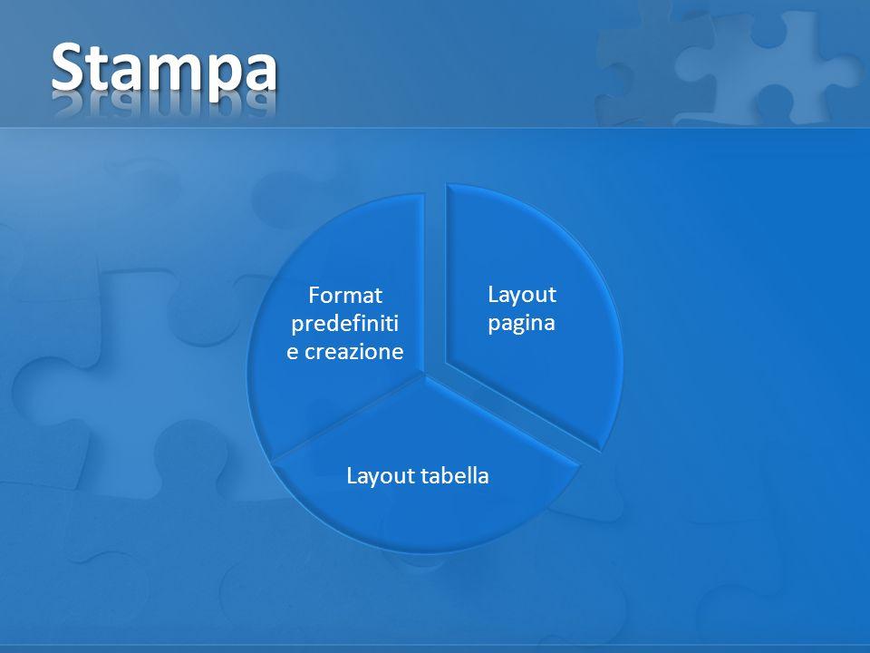 Layout pagina Layout tabella Format predefiniti e creazione