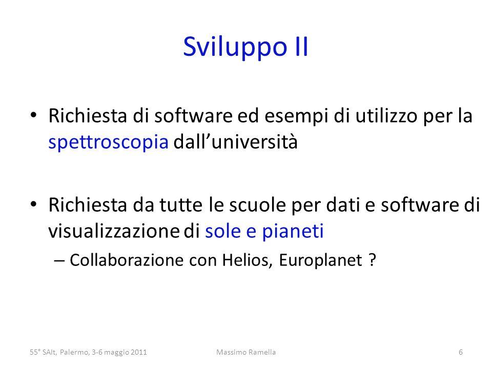 Sviluppo II Richiesta di software ed esempi di utilizzo per la spettroscopia dalluniversità Richiesta da tutte le scuole per dati e software di visualizzazione di sole e pianeti – Collaborazione con Helios, Europlanet .