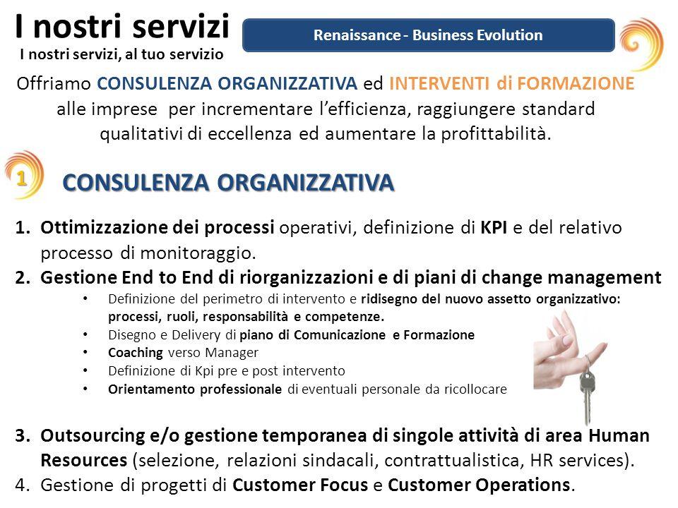 I nostri servizi I nostri servizi, al tuo servizio Offriamo CONSULENZA ORGANIZZATIVA ed INTERVENTI di FORMAZIONE alle imprese per incrementare lefficienza, raggiungere standard qualitativi di eccellenza ed aumentare la profittabilità.