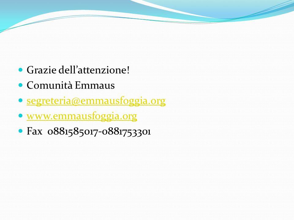 Grazie dellattenzione! Comunità Emmaus segreteria@emmausfoggia.org www.emmausfoggia.org Fax 0881585017-0881753301
