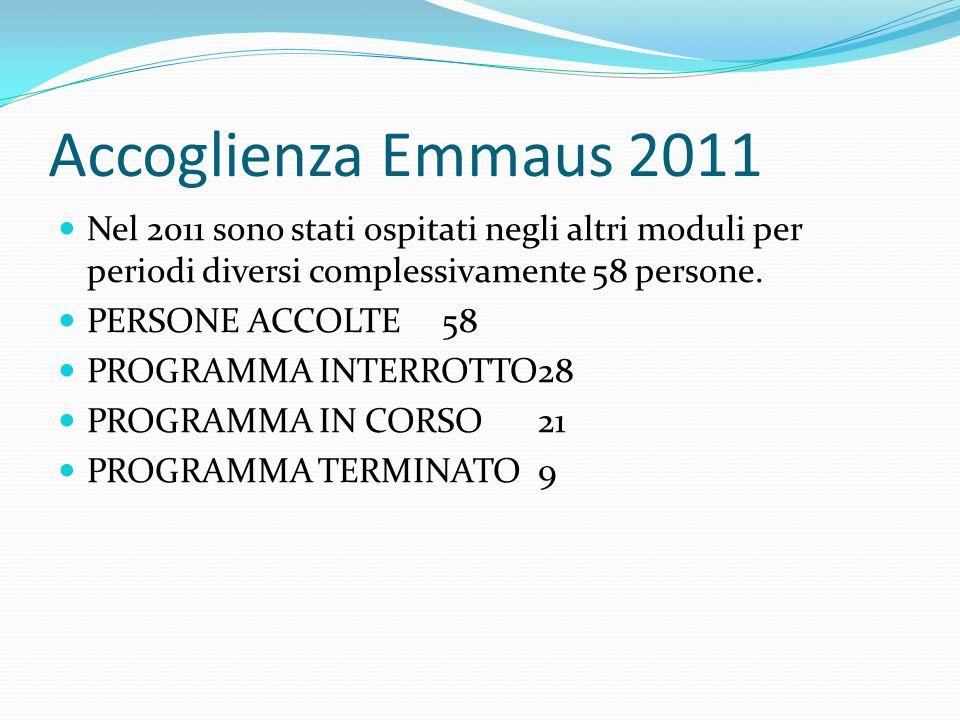 Accoglienza Emmaus 2011 Nel 2011 sono stati ospitati negli altri moduli per periodi diversi complessivamente 58 persone. PERSONE ACCOLTE58 PROGRAMMA I