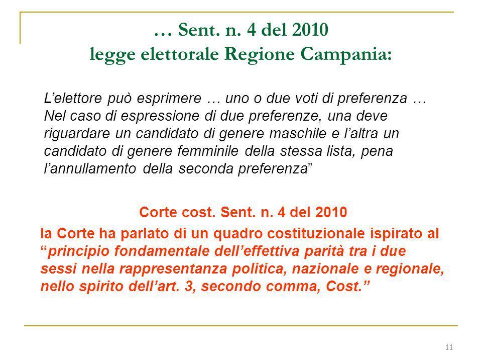 11 … Sent. n. 4 del 2010 legge elettorale Regione Campania: Corte cost. Sent. n. 4 del 2010 la Corte ha parlato di un quadro costituzionale ispirato a