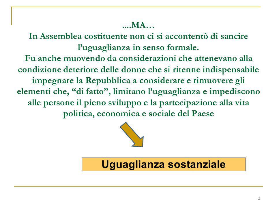 3....MA… In Assemblea costituente non ci si accontentò di sancire luguaglianza in senso formale. Fu anche muovendo da considerazioni che attenevano al