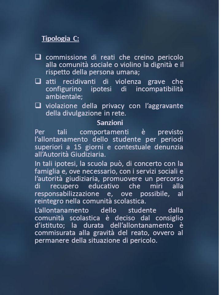 Tipologia C: commissione di reati che creino pericolo alla comunità sociale o violino la dignità e il rispetto della persona umana; atti recidivanti d