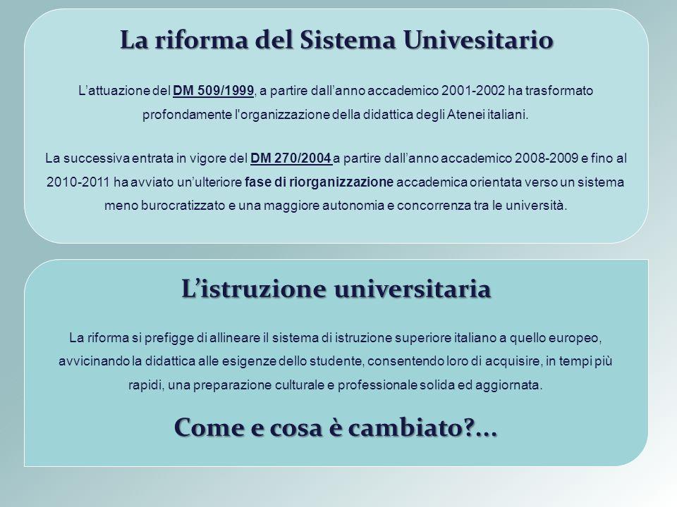 La riforma del Sistema Univesitario Lattuazione del DM 509/1999, a partire dallanno accademico 2001-2002 ha trasformato profondamente l'organizzazione