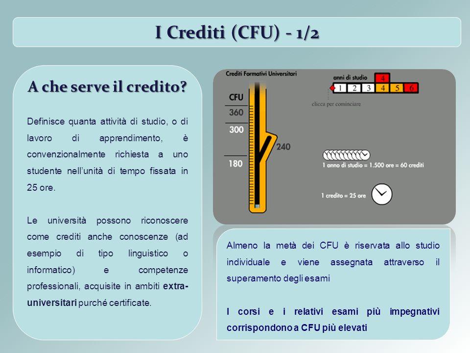 I Crediti (CFU) - 2/2 I crediti vengono adottati in tutto il sistema universitario italiano per facilitare agli studenti il trasferimento da un corso di studio ad un altro, oppure da ununiversità ad unaltra, anche straniera.