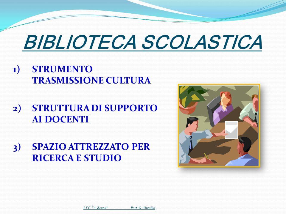 BIBLIOTECA SCOLASTICA 1)STRUMENTO TRASMISSIONE CULTURA 2)STRUTTURA DI SUPPORTO AI DOCENTI 3)SPAZIO ATTREZZATO PER RICERCA E STUDIO I.T.C.