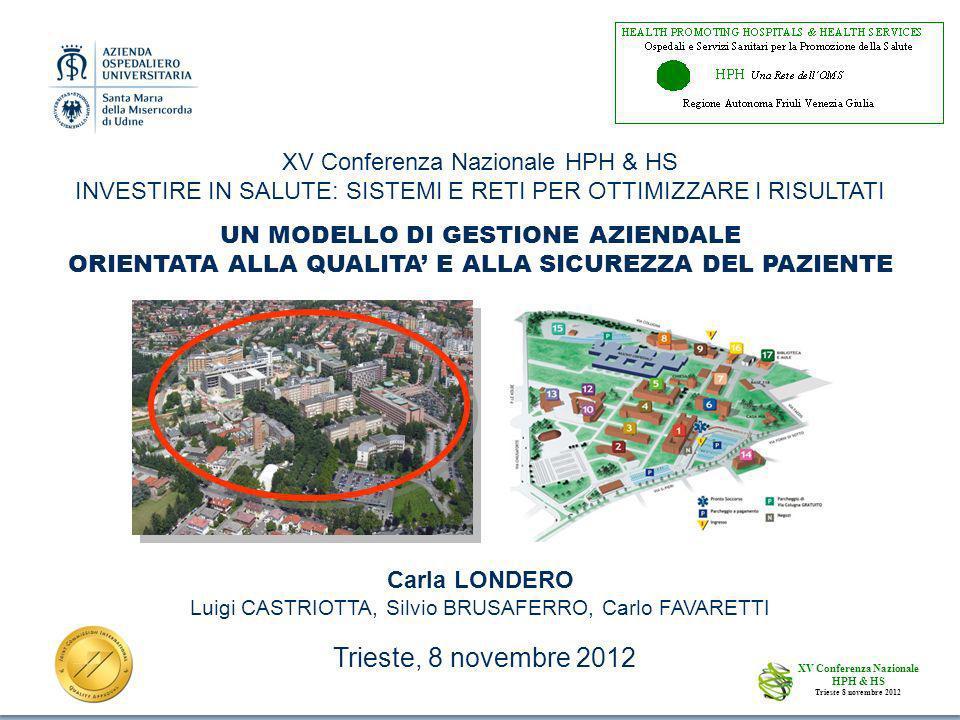 1 Carla LONDERO Luigi CASTRIOTTA, Silvio BRUSAFERRO, Carlo FAVARETTI UN MODELLO DI GESTIONE AZIENDALE ORIENTATA ALLA QUALITA E ALLA SICUREZZA DEL PAZIENTE XV Conferenza Nazionale HPH & HS Trieste 8 novembre 2012 XV Conferenza Nazionale HPH & HS INVESTIRE IN SALUTE: SISTEMI E RETI PER OTTIMIZZARE I RISULTATI Trieste, 8 novembre 2012