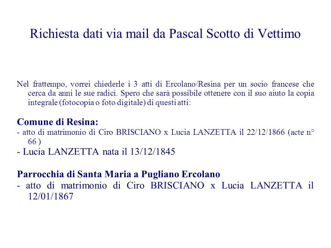Richiesta dati via mail da Pascal Scotto di Vettimo Nel frattempo, vorrei chiederle i 3 atti di Ercolano/Resina per un socio francese che cerca da ann