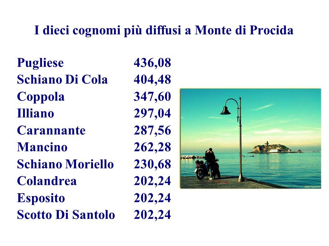 I dieci cognomi più diffusi a Monte di Procida Pugliese436,08 Schiano Di Cola404,48 Coppola347,60 Illiano297,04 Carannante287,56 Mancino262,28 Schiano