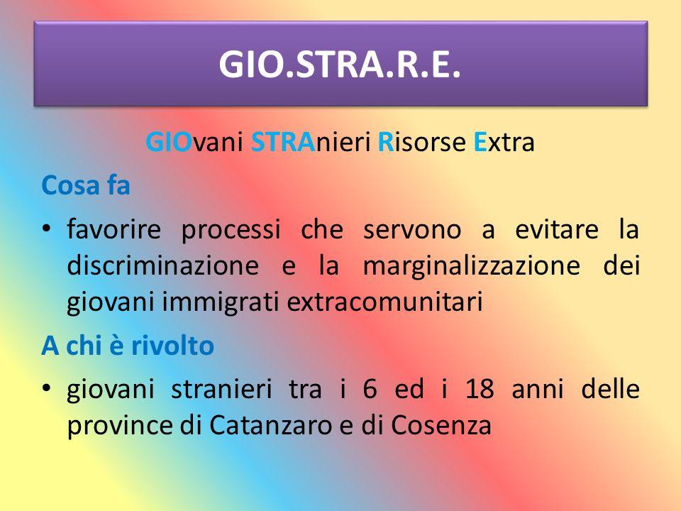 GIO.STRA.R.E. GIOvani STRAnieri Risorse Extra Cosa fa favorire processi che servono a evitare la discriminazione e la marginalizzazione dei giovani im