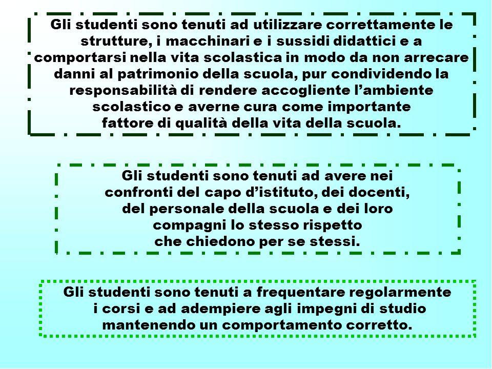 Gli studenti sono tenuti a frequentare regolarmente i corsi e ad adempiere agli impegni di studio mantenendo un comportamento corretto. Gli studenti s