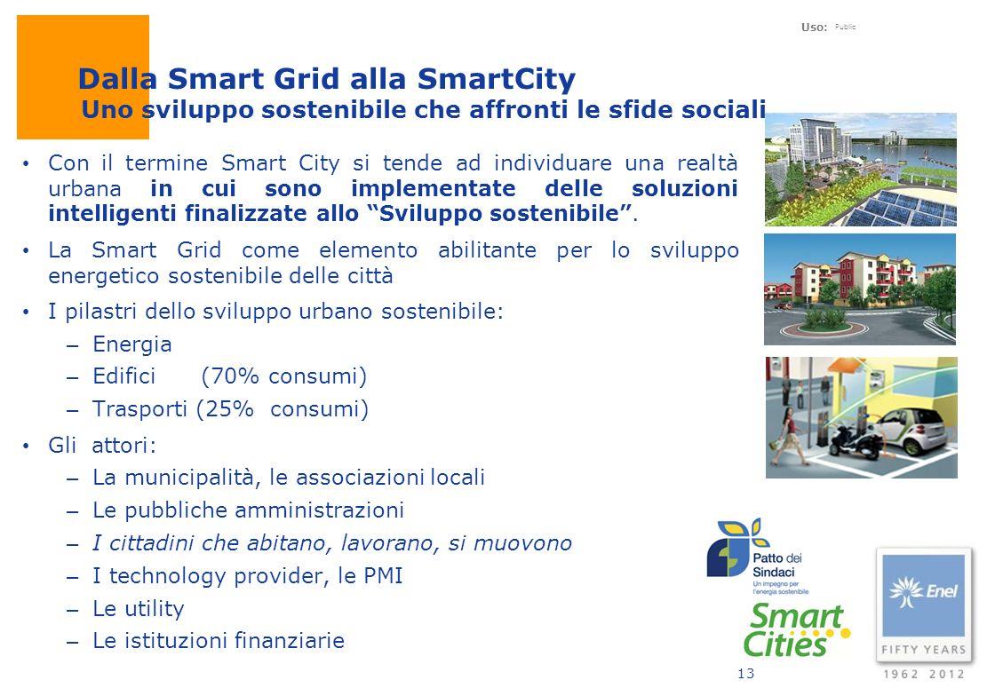 Uso: Public 13 Con il termine Smart City si tende ad individuare una realtà urbana in cui sono implementate delle soluzioni intelligenti finalizzate a