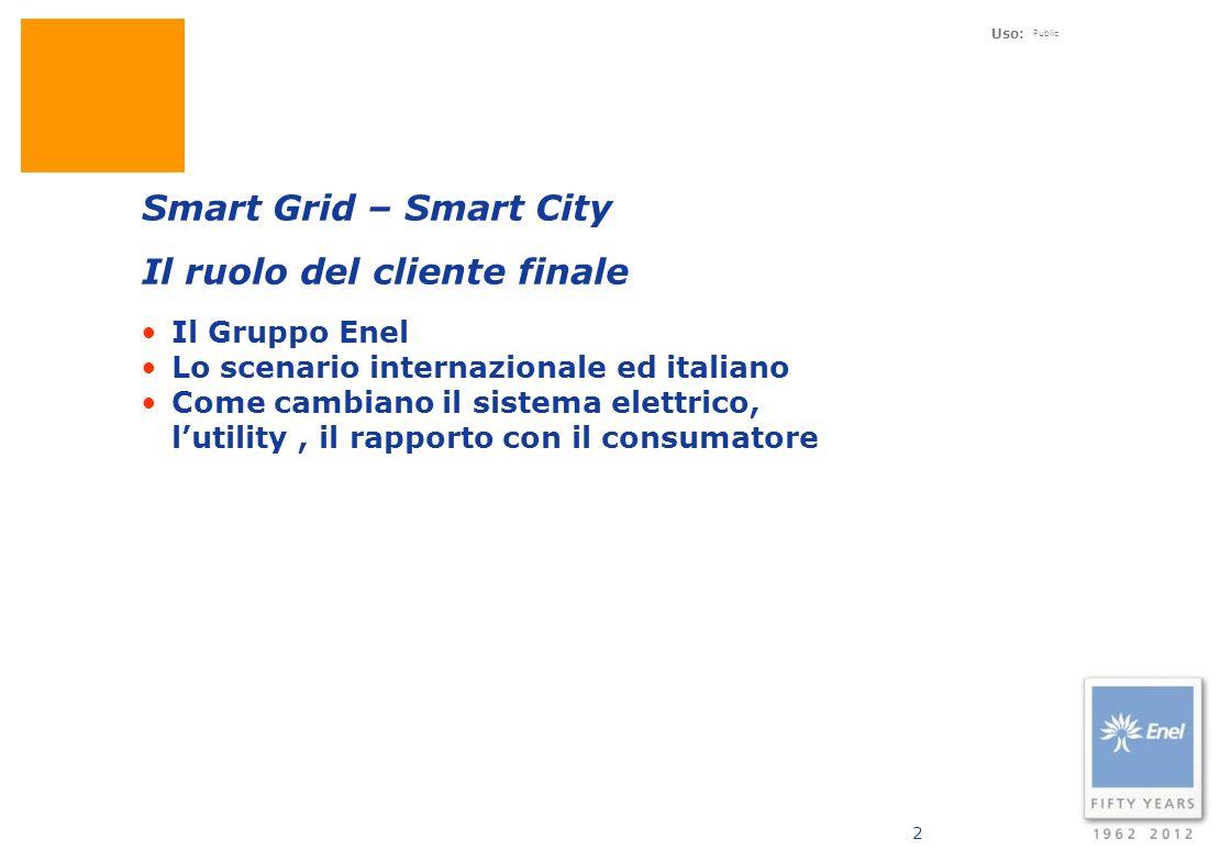 Uso: Public 13 Con il termine Smart City si tende ad individuare una realtà urbana in cui sono implementate delle soluzioni intelligenti finalizzate allo Sviluppo sostenibile.