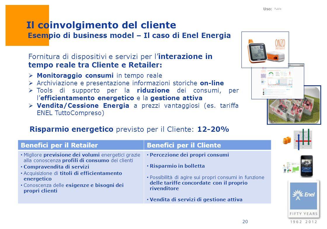 Uso: Public 20 Fornitura di dispositivi e servizi per linterazione in tempo reale tra Cliente e Retailer: Benefici per il RetailerBenefici per il Clie