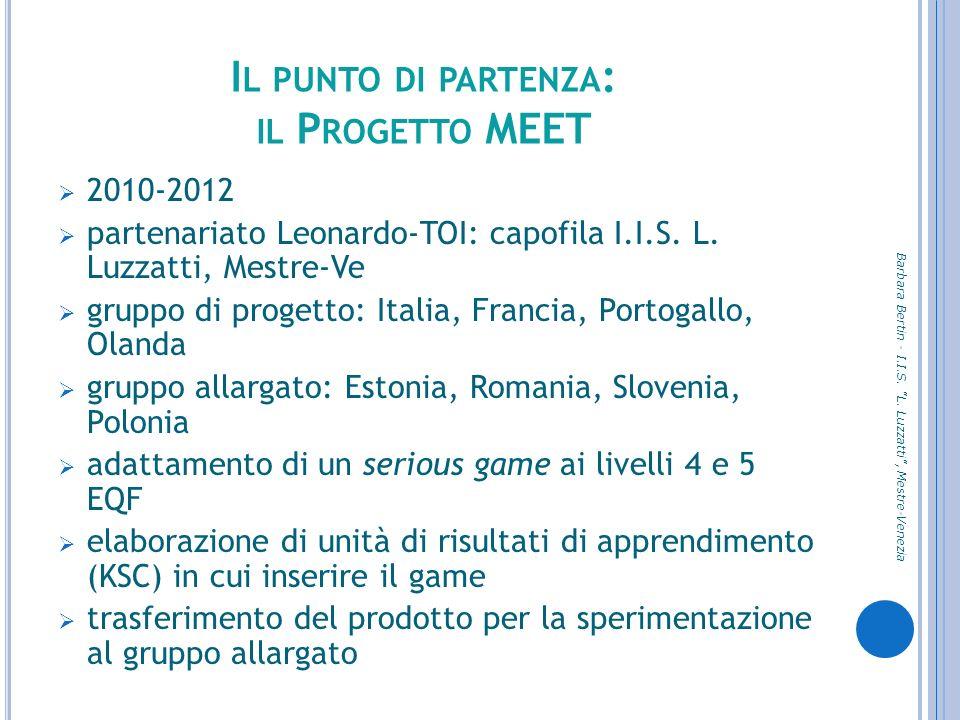 I L PUNTO DI PARTENZA : IL P ROGETTO MEET 2010-2012 partenariato Leonardo-TOI: capofila I.I.S. L. Luzzatti, Mestre-Ve gruppo di progetto: Italia, Fran